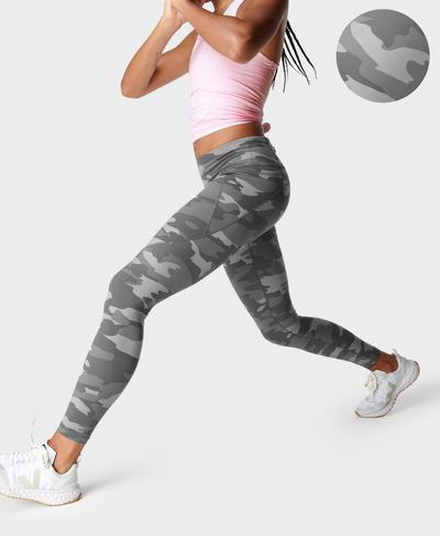 Power Gym Leggings, Grey Tonal Camo Print | Sweaty Betty