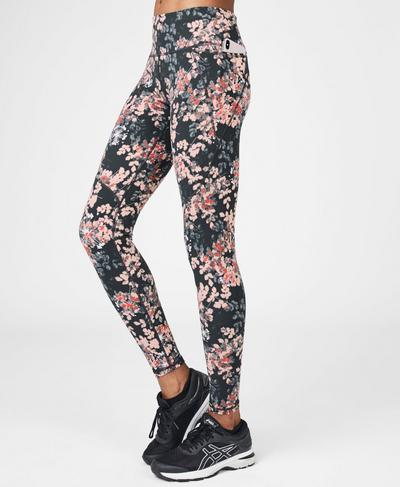 Power Workout Leggings, Liberated Pink Floral Print | Sweaty Betty