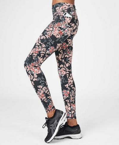 Power Workout Leggings, Liberated Pink Floral Print   Sweaty Betty