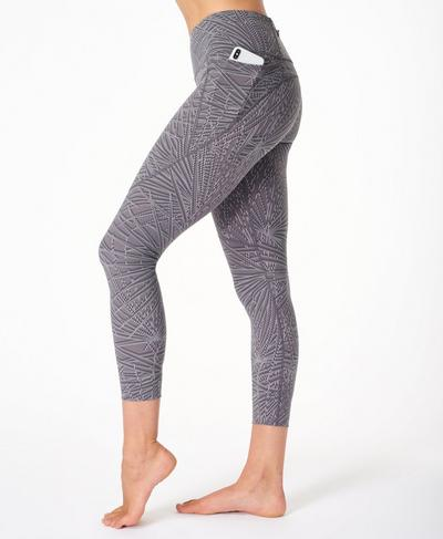 Power 7/8 Gym Leggings, Moonrock Purple Palm Print | Sweaty Betty