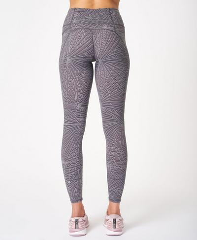 Power Workout Leggings, Moonrock Purple Palm Print   Sweaty Betty