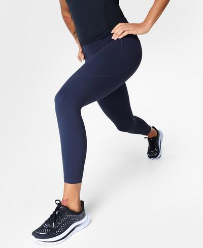 Power 7/8 Gym Leggings, Navy Blue | Sweaty Betty