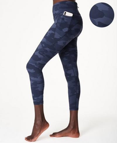 Power 7/8 Gym Leggings, Navy Blue Camo Print | Sweaty Betty