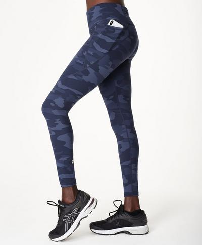 Power Workout Leggings, Navy Blue Camo Print | Sweaty Betty