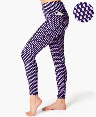 Power Gym Leggings, Navy Blue Slant Print | Sweaty Betty