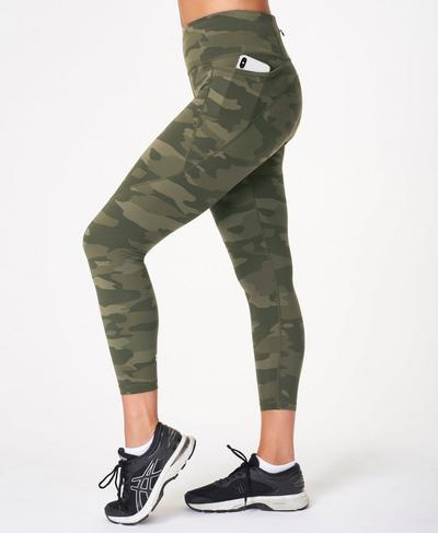Power 7/8 Gym Leggings, Olive Tonal Camo Print | Sweaty Betty