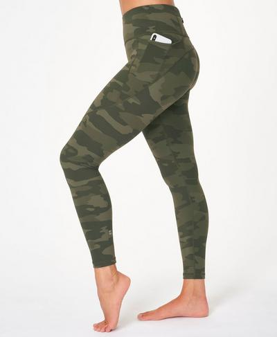 Power Workout Leggings, Olive Tonal Camo Print | Sweaty Betty