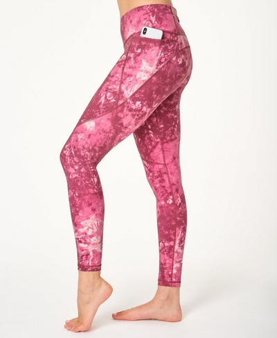 Power Gym Leggings, Pink Tie Dye Print | Sweaty Betty