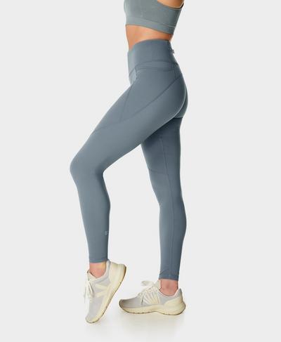 Power Gym Leggings, Steel Blue | Sweaty Betty