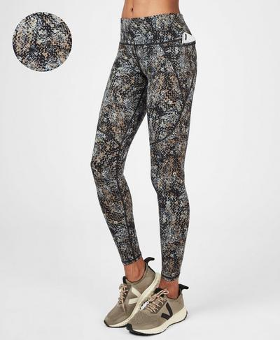 Power Workout Leggings, Storm Blue Wood Block Print | Sweaty Betty