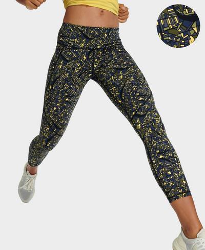 Power 7/8 Workout Leggings , Yellow Map Print   Sweaty Betty