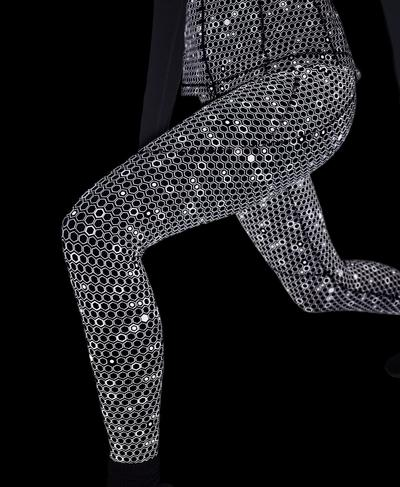 Power Reflective Gym Legging, Grey Reflective Geo Print | Sweaty Betty