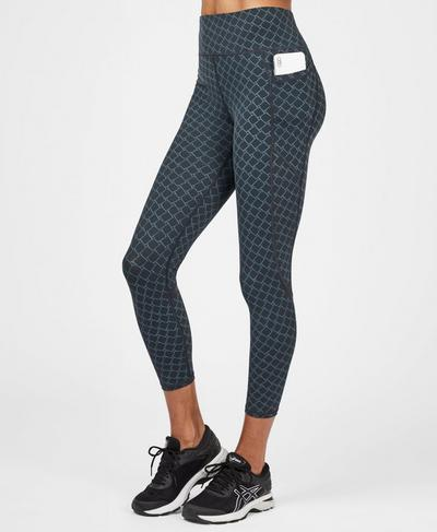 Zero Gravity High Waisted 7/8 Running Leggings, Black Tonal Scale Print | Sweaty Betty