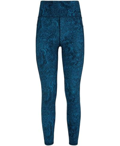 Zero Gravity High Waisted 7/8 Running Leggings, Beetle Blue Doodle Print | Sweaty Betty