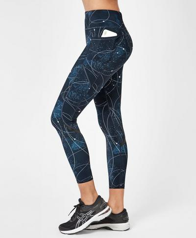 Zero Gravity High-Waisted 7/8 Running Leggings, Beetle Blue Space Race Print | Sweaty Betty