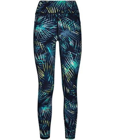 Zero Gravity High Waisted 7/8 Running Leggings, Black Neon Tropical Print | Sweaty Betty
