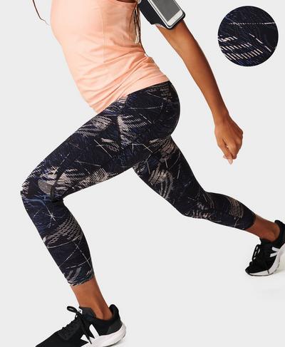 Zero Gravity High-Waisted 7/8 Running Leggings, Black Orbit Print | Sweaty Betty