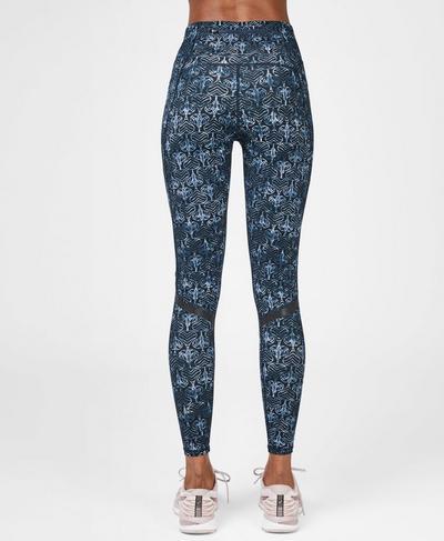 Zero Gravity High Waisted Running Leggings, Blue Elephant Batik Print | Sweaty Betty