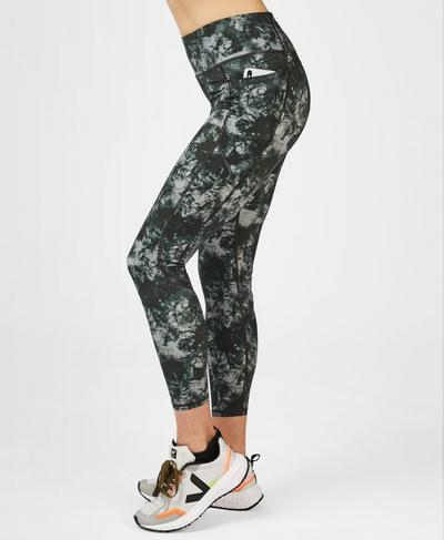 Zero Gravity High Waisted 7/8 Running Leggings, Green Tie Dye Print | Sweaty Betty