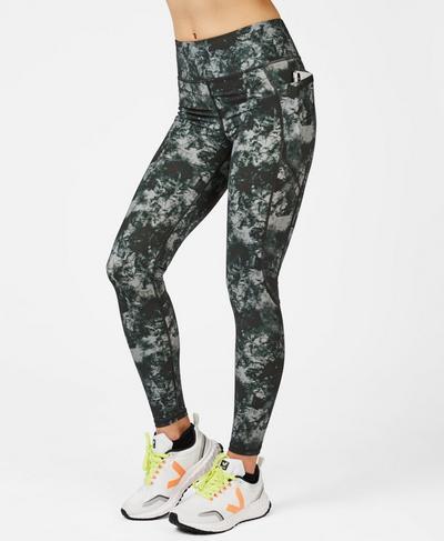 Zero Gravity High Waisted Running Leggings, Green Tie Dye Print | Sweaty Betty