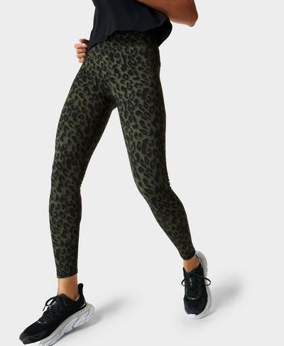 Zero Gravity Laufleggings mit hohem Bund, Olive Leopard Print | Sweaty Betty