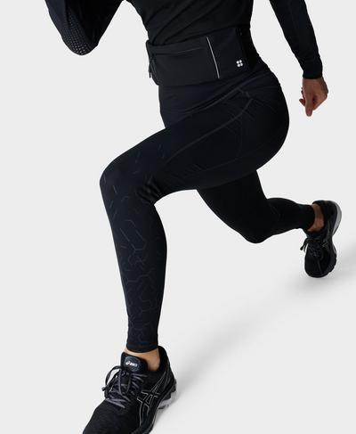 Zero Gravity High-Waisted Running Leggings, Black Light Reflect Print | Sweaty Betty