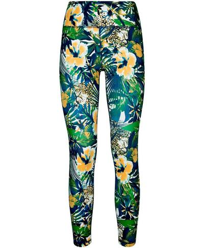 All Day Contour 7/8 Workout Leggings, Green Hibiscus Floral Print | Sweaty Betty