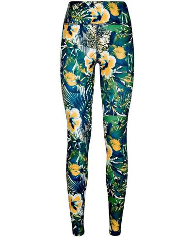 All Day Contour Gym Leggings, Green Hibiscus Floral Print | Sweaty Betty