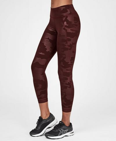 Contour Embossed 7/8 Gym Leggings, Black Cherry Purple | Sweaty Betty