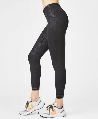 Contour Embossed 7/8 Gym Leggings, Black Leopard Print | Sweaty Betty