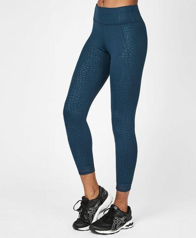 Embossed 7/8 Workout Leggings, Blue Embossed Croc Print | Sweaty Betty