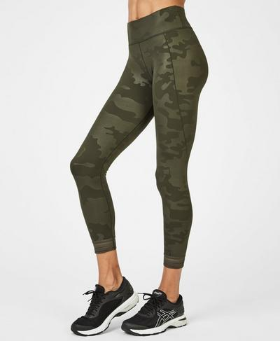 Contour Embossed 7/8 Gym Leggings, Dark Forest Green | Sweaty Betty