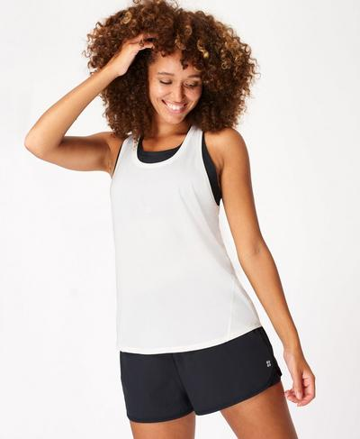 Energise Gym Tank, Lily White | Sweaty Betty