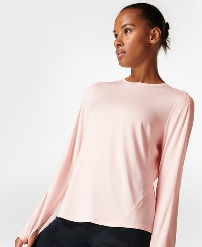 Energise Long Sleeve Workout Top, Antique Pink Marl   Sweaty Betty