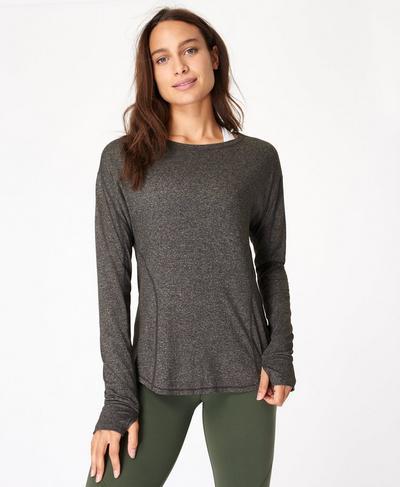 Energise Langarm-Fitnessshirt, Black | Sweaty Betty