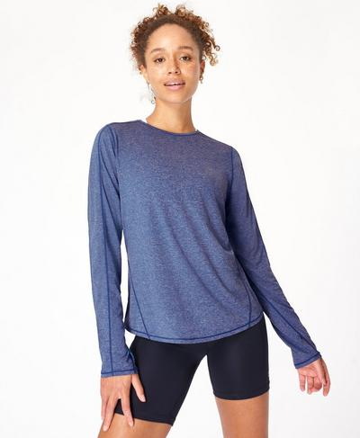 Energise Long Sleeve Gym Top, Blue Quartz | Sweaty Betty