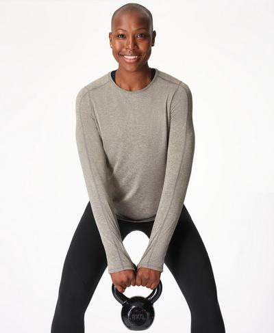 Energise Long Sleeve Gym Top, Cloud Grey Marl | Sweaty Betty