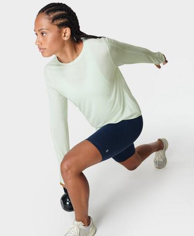 Energise Long Sleeve Workout Top, Glacier Green | Sweaty Betty