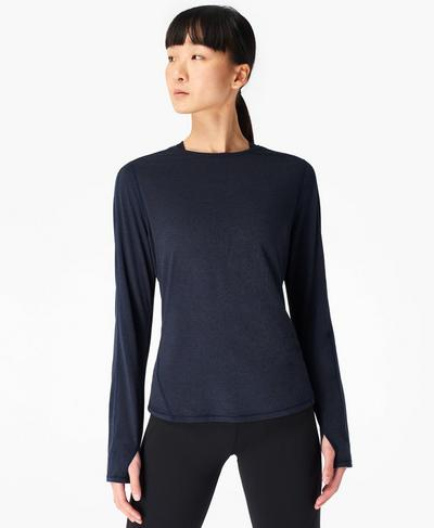 Energise Long Sleeve Workout Top, Navy Blue | Sweaty Betty