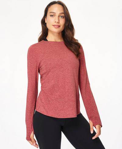 Energise Long Sleeve Workout Top, Renaissance Red Marl | Sweaty Betty