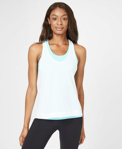 Double Time Seamless Workout Vest, Angel Blue | Sweaty Betty