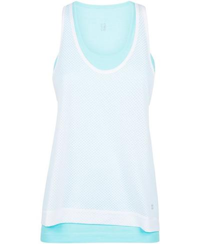 Double Time Seamless Workout Tank, Angel Blue | Sweaty Betty