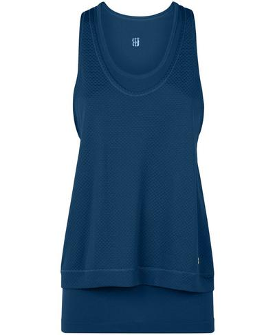 Double Time Seamless Workout Tank, Beetle Blue | Sweaty Betty