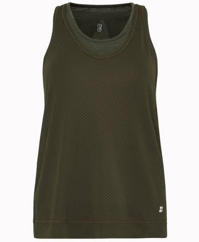 Double Time Seamless Workout Vest, Dark Forest Green | Sweaty Betty