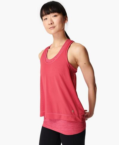 Double Time Seamless Gym Vest, Tayberry Pink | Sweaty Betty