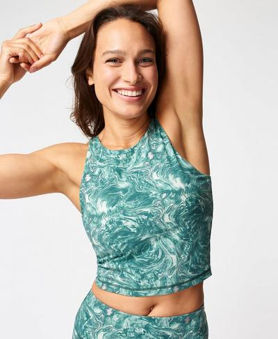 Goddess Workout Vest, Pale Aqua Green Water Print | Sweaty Betty