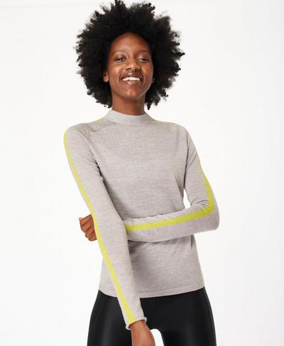 Rebel Merino Turtleneck Jumper, Cloud Grey | Sweaty Betty