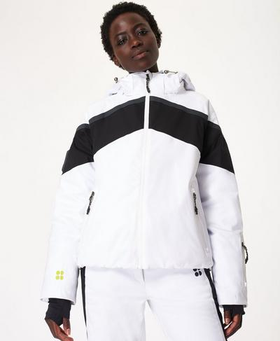 Big Air Ski Puffa Jacket, White Colour Block | Sweaty Betty