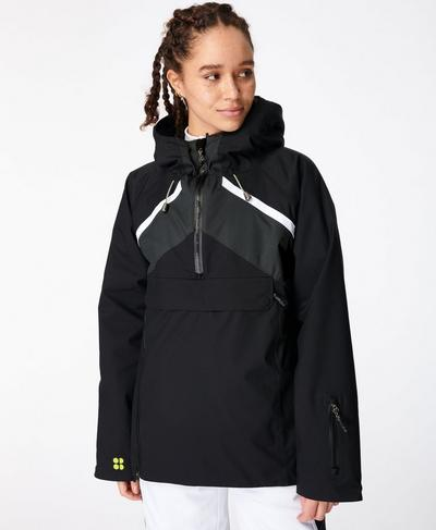 Half Pipe Ski Pullover Jacket, Black Colour Block | Sweaty Betty