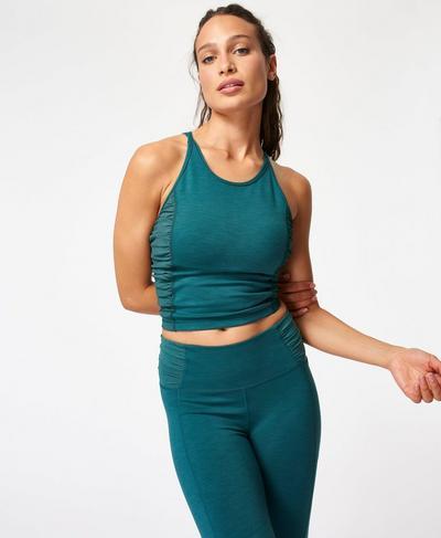 Super Sculpt Mesh Yoga Tank, June Bug Green Marl | Sweaty Betty